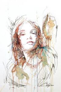 Carne Griffiths pinturas mulheres e flores com chás vodca e uisque